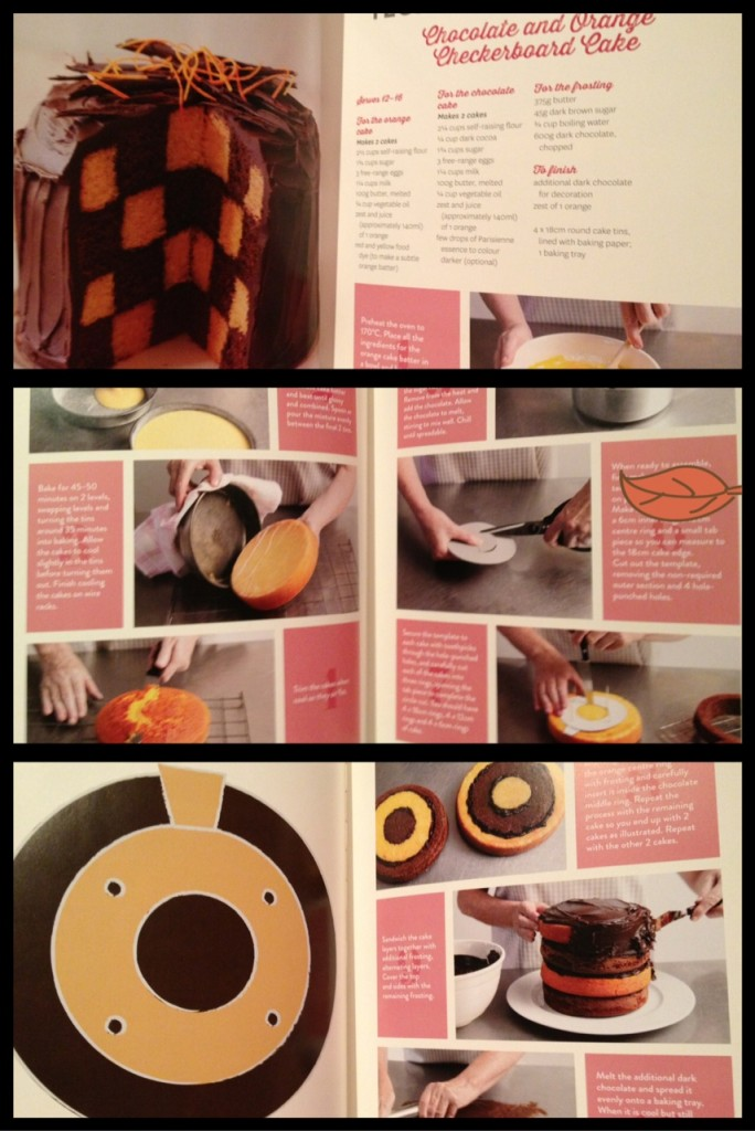 Step by step instructions for chocolate orange checkerboard cake